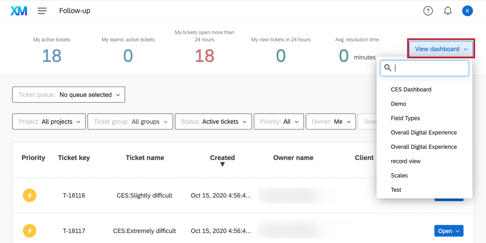Dashboard dropdown top of ticketing page
