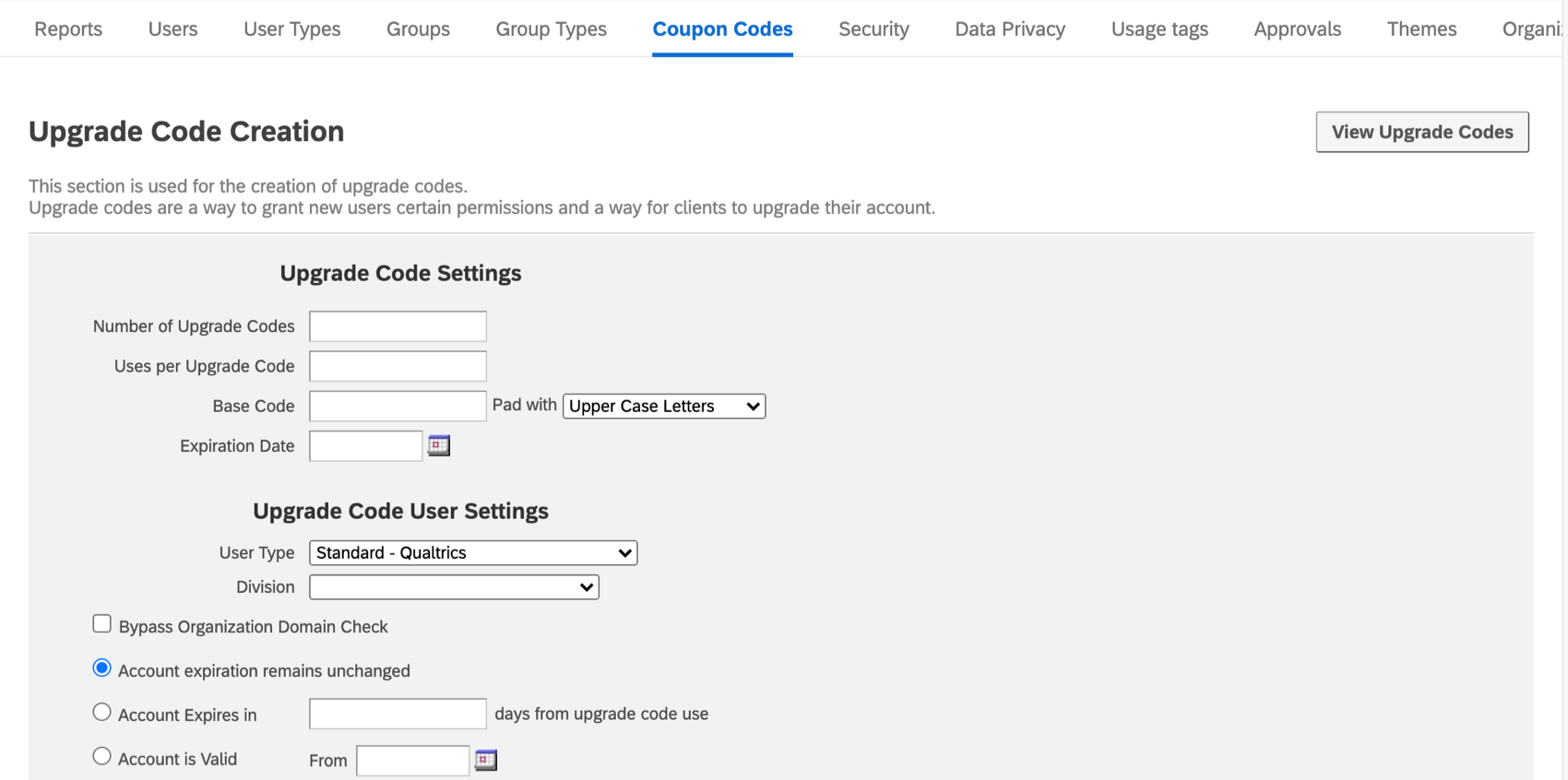 View upgrade codes in gray in upper-right