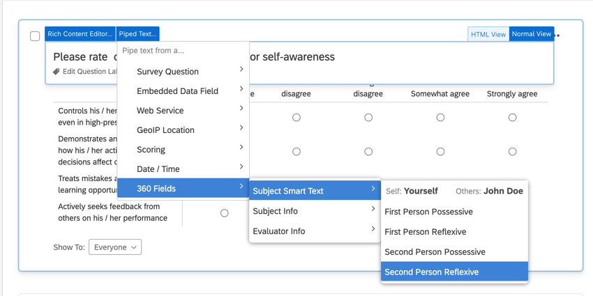the piped text menu. the subject smart text option is selected