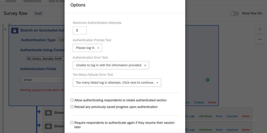 the authenticator options window