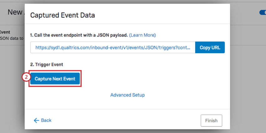 the capture next event button in a json event