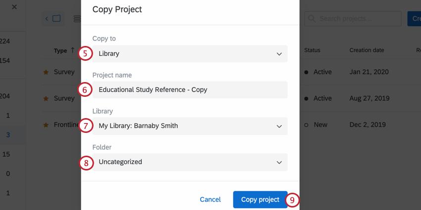 choosing where to copy the survey