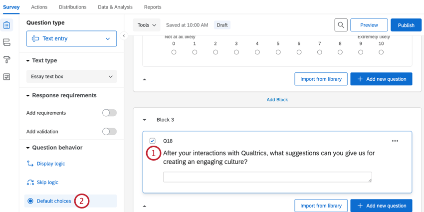 selecting a question and then choosing default choices