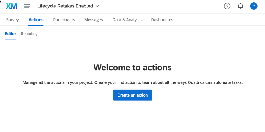 the actions tab of a lifecycle project