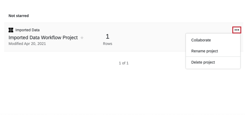 from the project page, clicking the project actions dropdown for an imported data project
