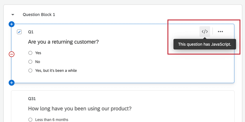 the javascript icon in the top right corner of the question