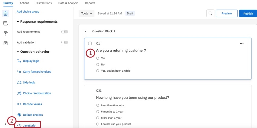 selecting a question and then clicking Javascript