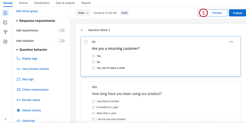 clicking the preview button at the top of the survey editor