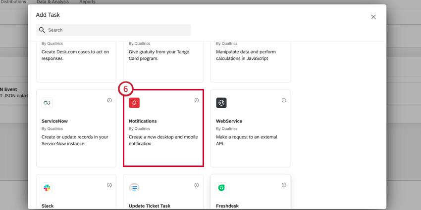 choosing the notifications feed task
