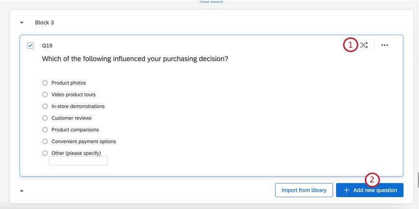 質問にランダム化を設定した後、[新しい質問を追加]をクリックする