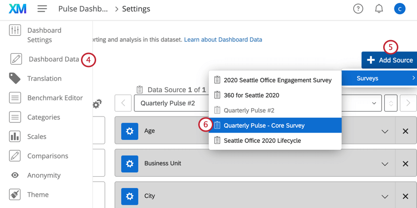 in the dashboard data section, mapping additional data sources