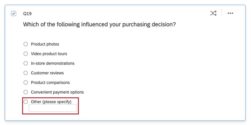 選択肢のリストがある多肢選択式質問で「その他」がリストの一番下にある