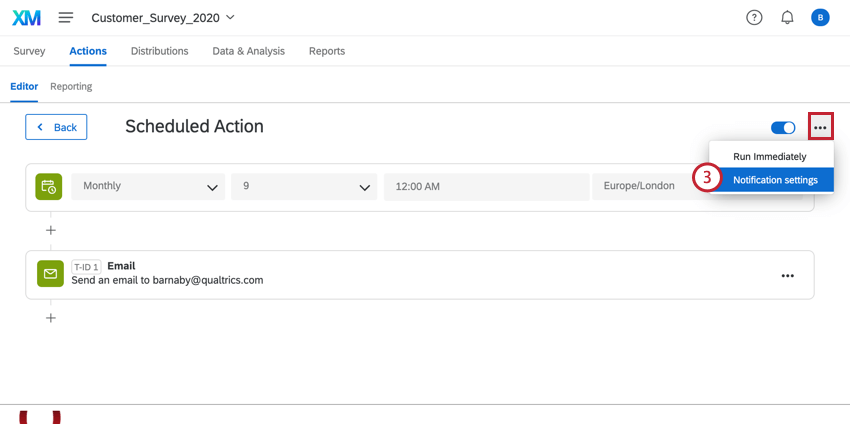 clicking the actions options and then notification settings