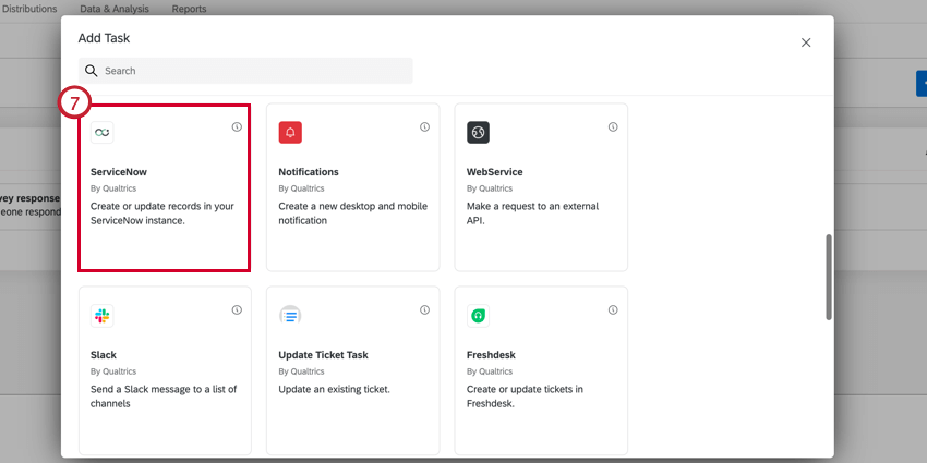 selecting ServiceNow in the task selection window