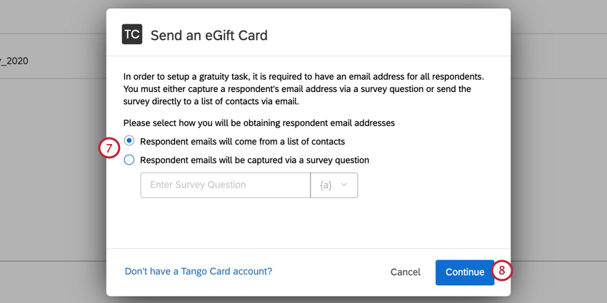 choosing where respondent emails come from