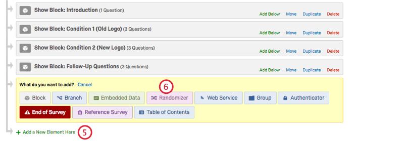 Inside survey flow adding randomizer at bottom. Randomizer choice is pink, top yellow row of choices