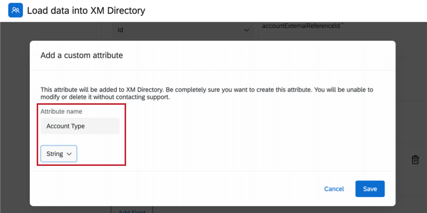 for a custom field, setting the attribute name and selecting the data type