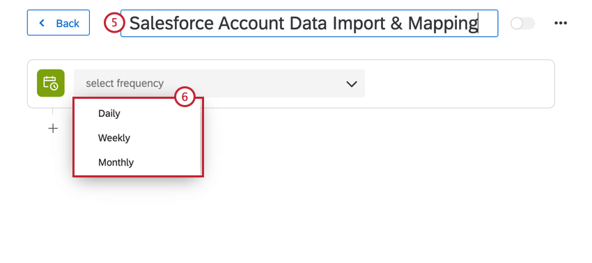 renaming the action and using the dropdown menus to choose when it runs