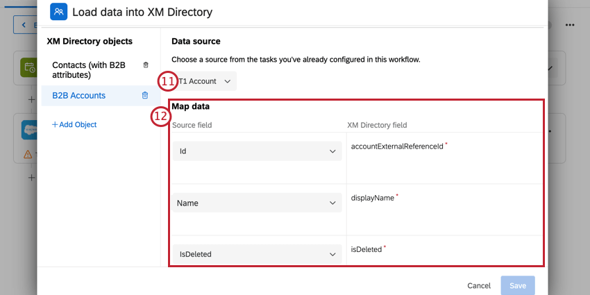 choosing the account data source and mapping fields