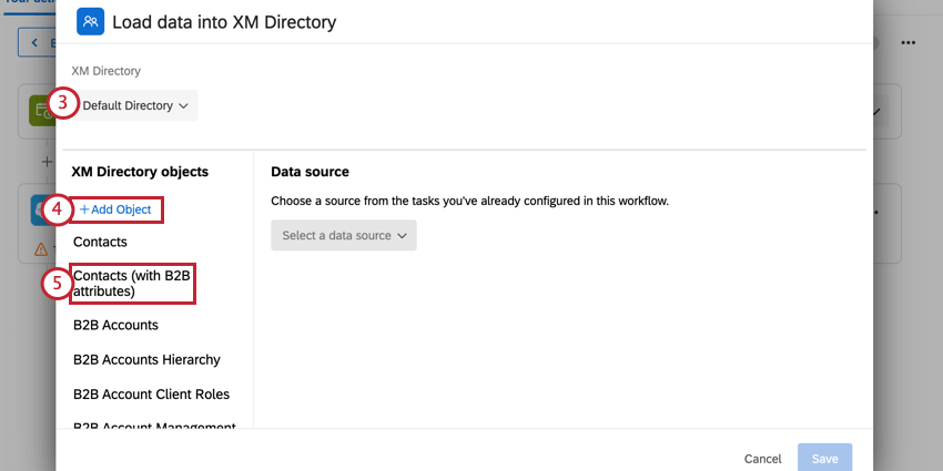 choosing a directory to save data to, and then adding the contacts (with b2b attributes) object