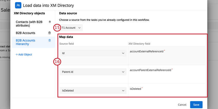 choosing the data source and mapping fields