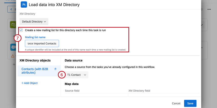 selecting the data source task, and enabling the create new mailing list checkbox