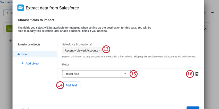 choosing the salesforce list to import accounts, and then mapping fields