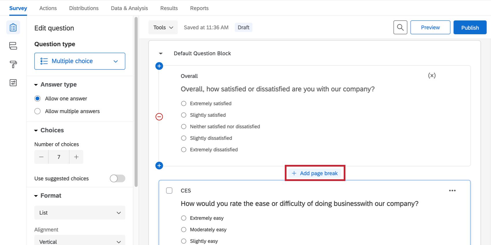 Entre les questions, un bouton indiquant Ajouter un saut de page en bleu s'affiche