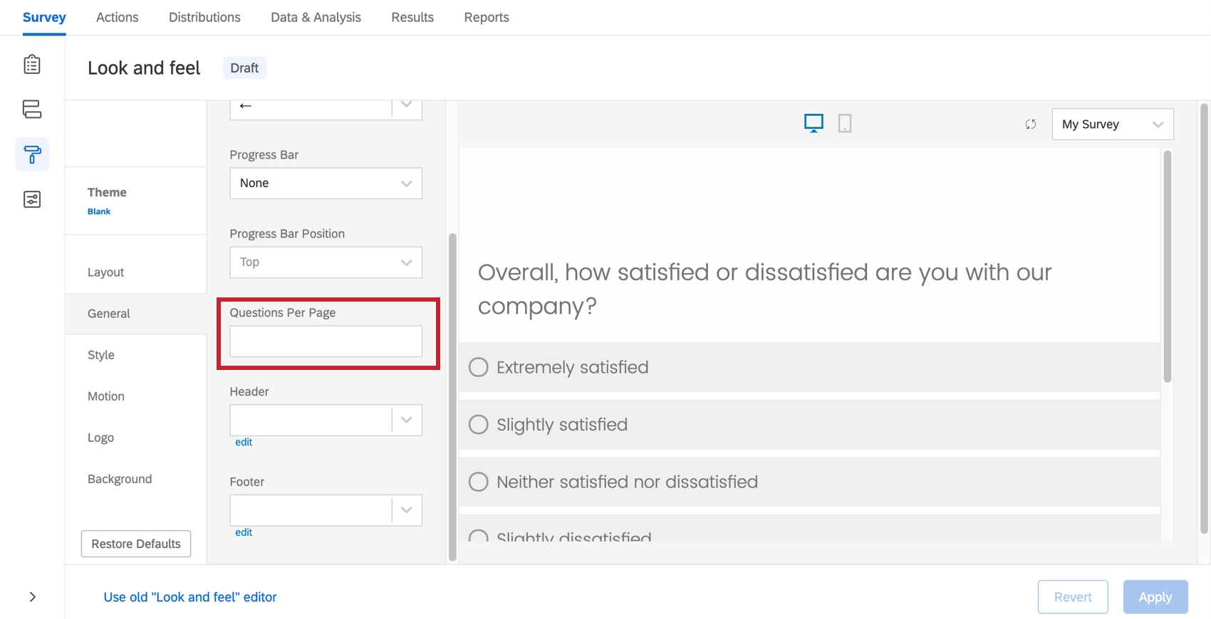 Option Questions par page dans l'éditeur Apparence