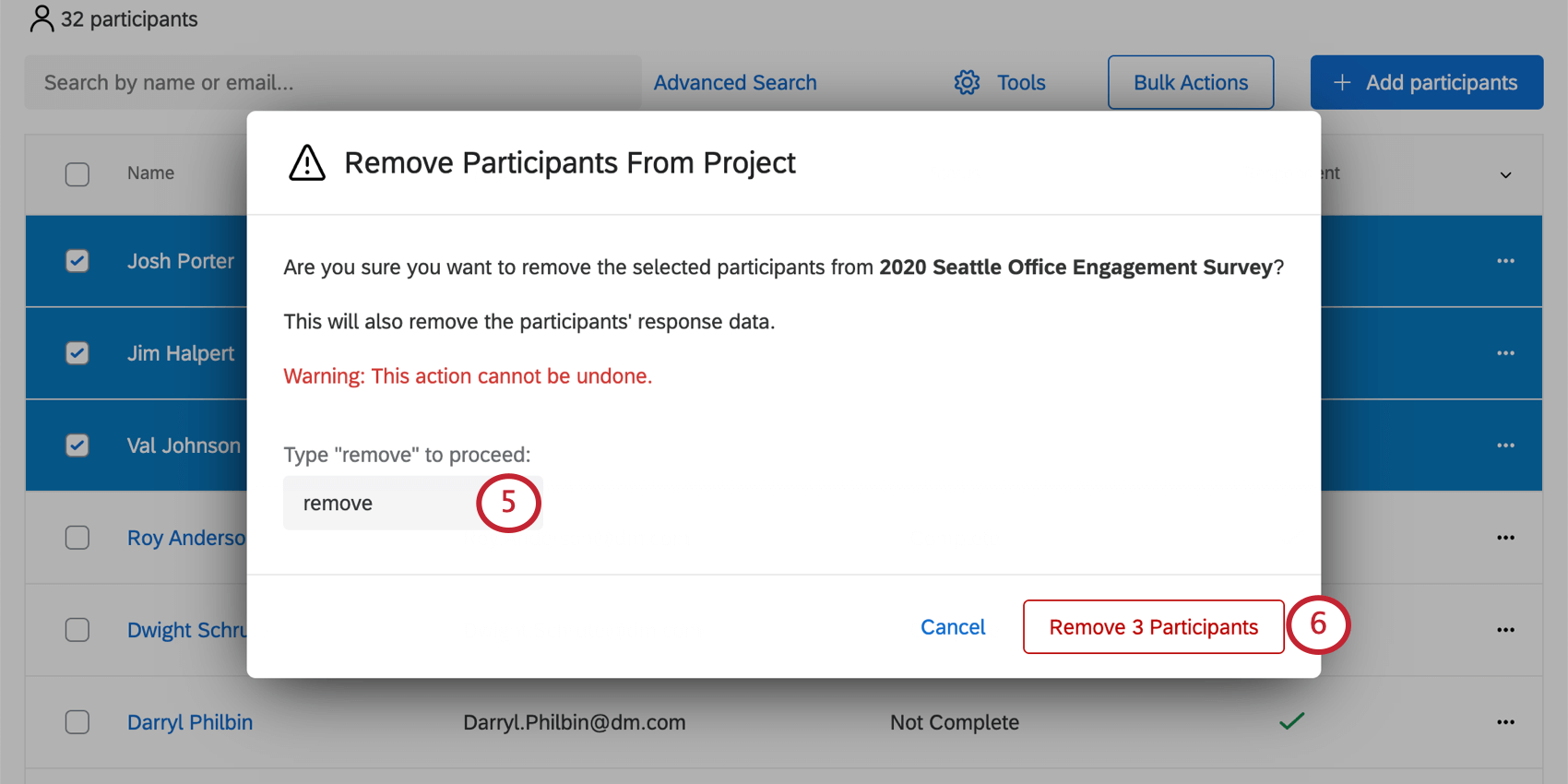 "Window remove participants from project opens over the participants tab and has a field for typing ""remove"""