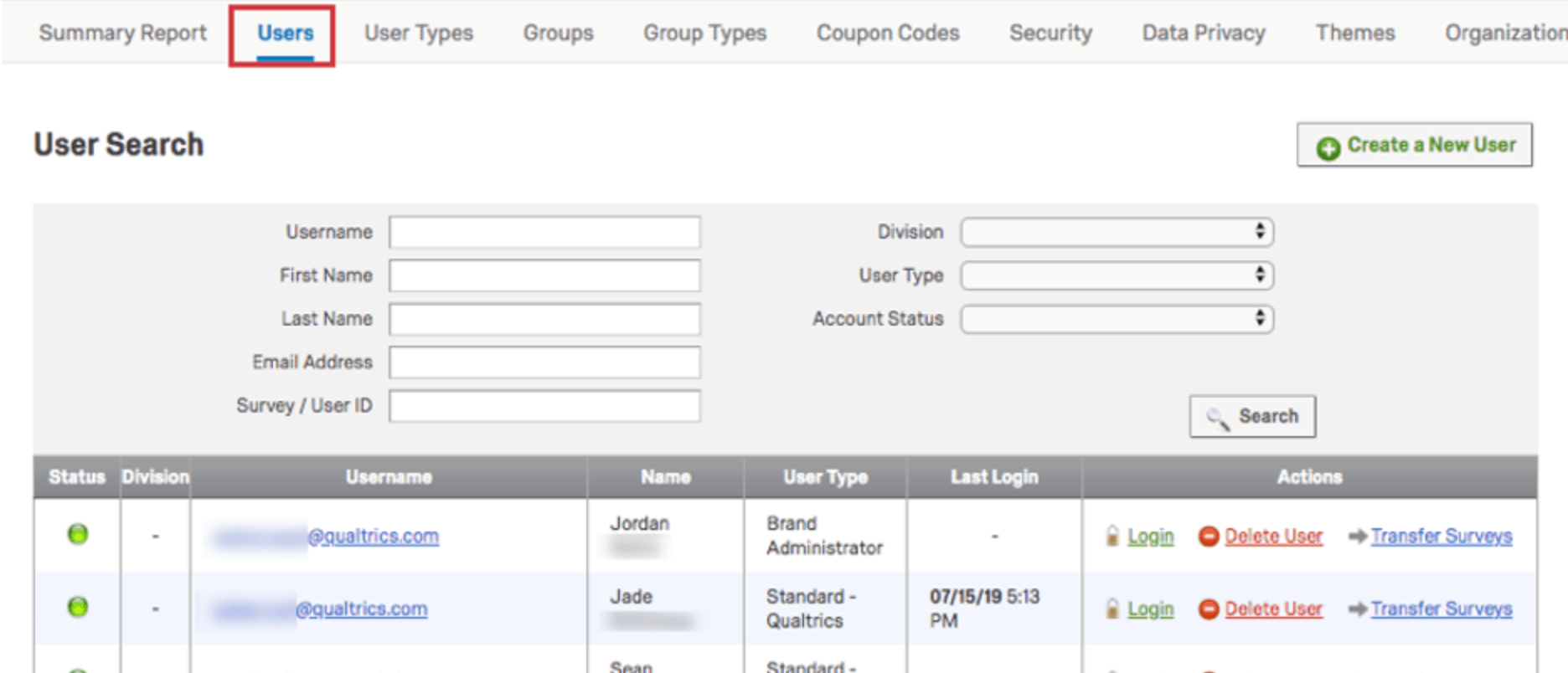Admin page chosen upper-right, then lower, left, chose Users. See a list of users and an advanced search