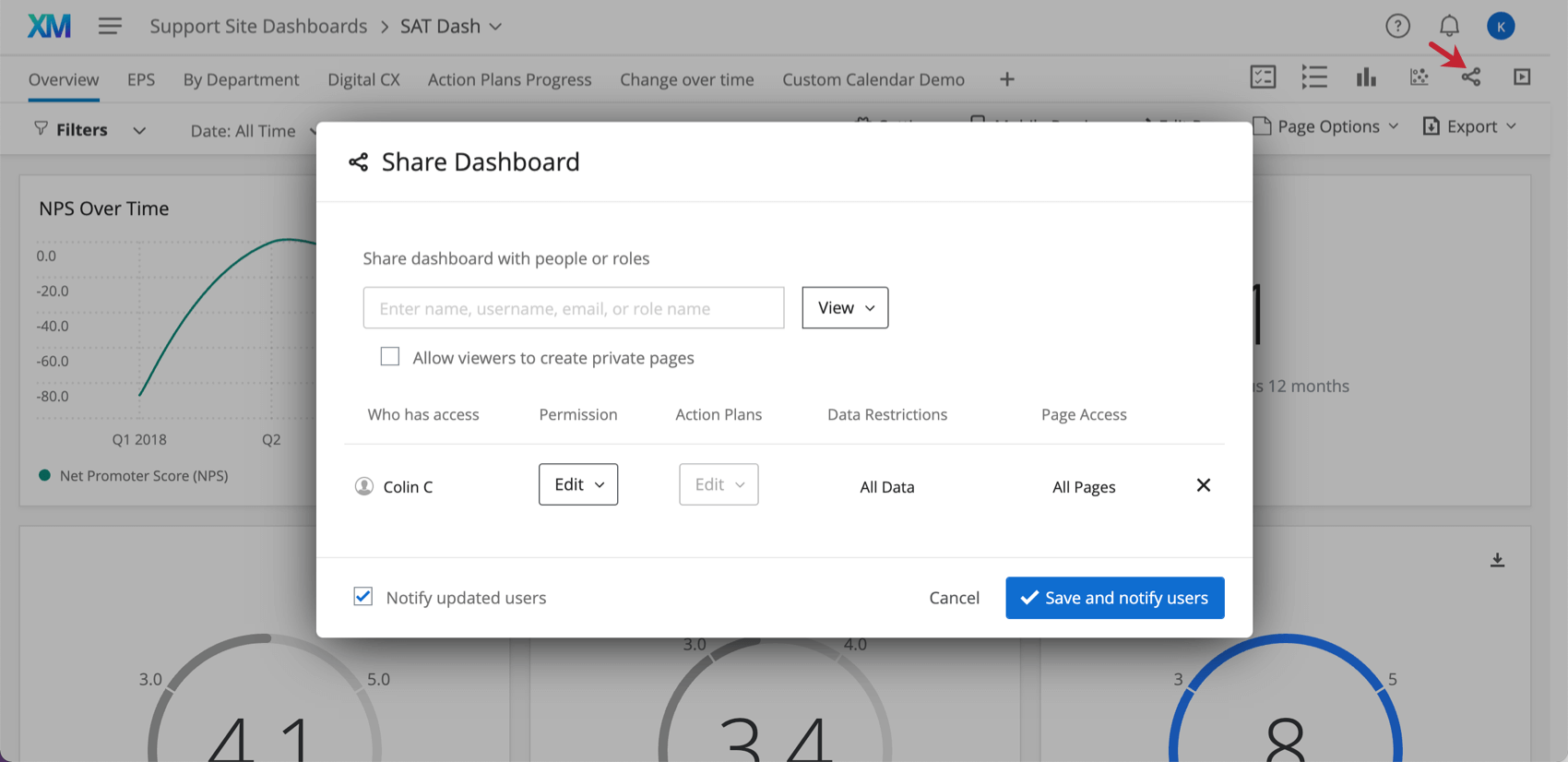 Share dashboard window open inside a dashboard, a bar for searching names / email and then quick permissions next to each person chosen