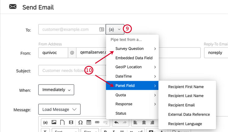 personnaliser une tâche e-mail. cliquer sur l'icône de texte inséré à côté du champ