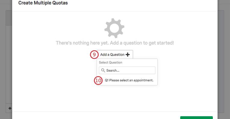 Ajouter une question étend un menu de questions