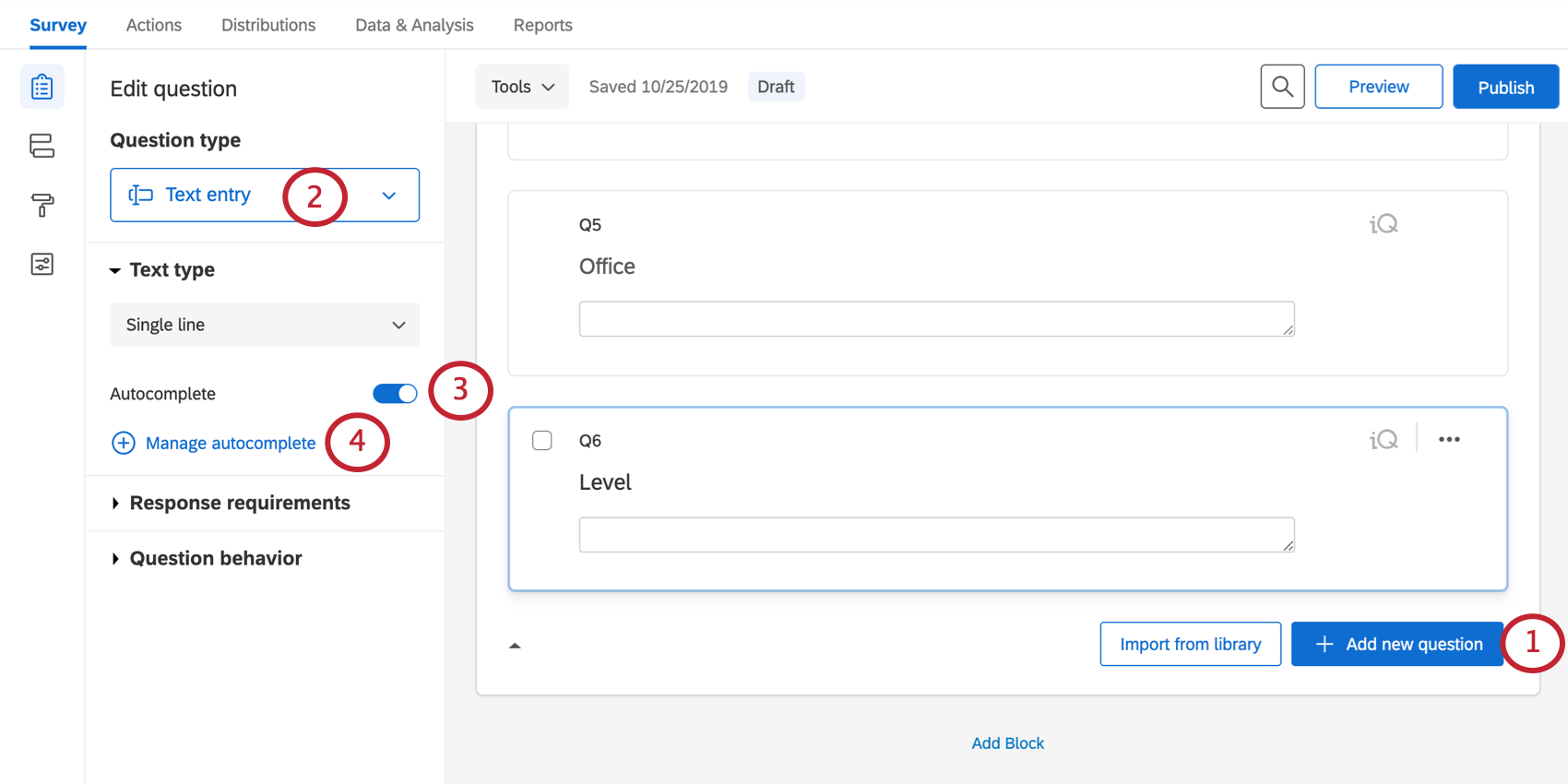 Creating an autocomplete question