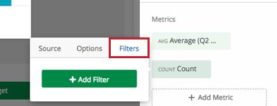 Filters tab in a widget