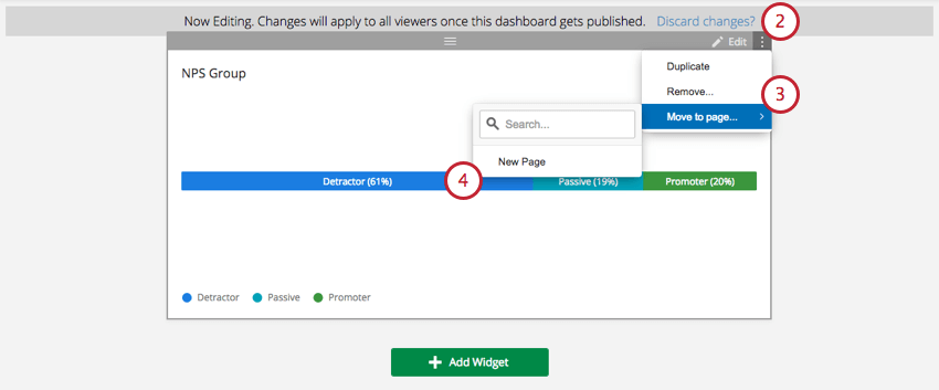 Move to page option on a widget