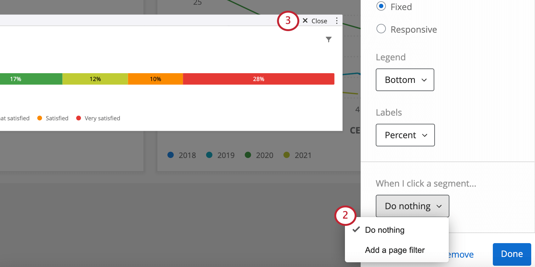 Bottom of widget editing pane, the option described can be found. Meanwhile, close button is in upper-right of widget