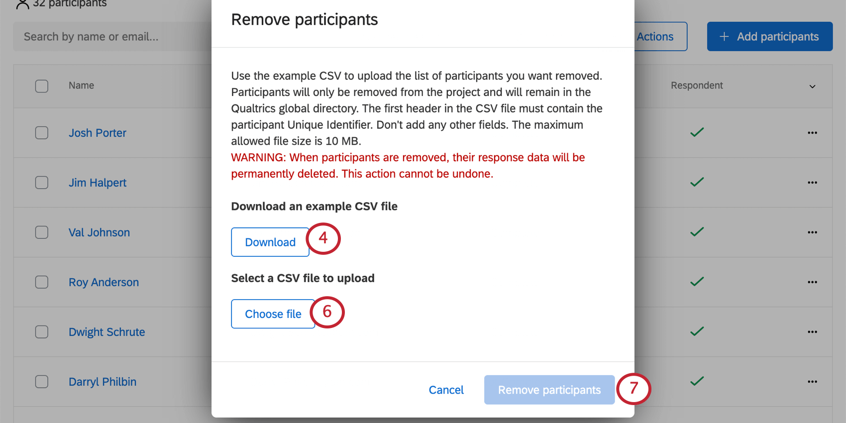Remove Participants window with browse to left, example CSV to right, remove participants in bottom-right