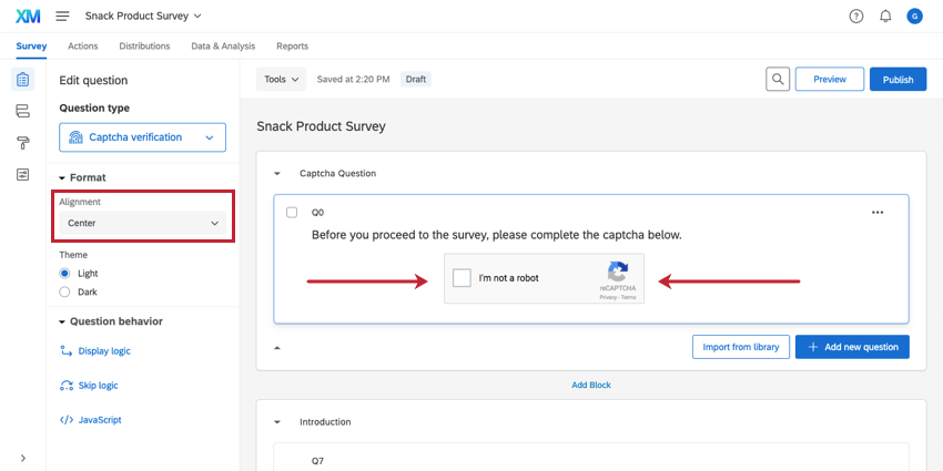 Centered captcha button with the Alignment set to Center in the left question options pane