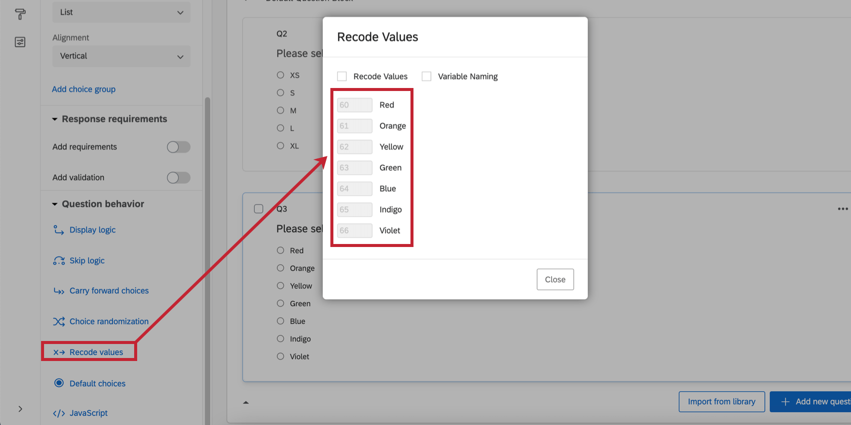 the recode values window open in the survey editor