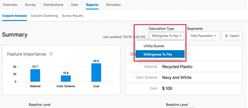 using the calculation type dropdown to select willingness to pay