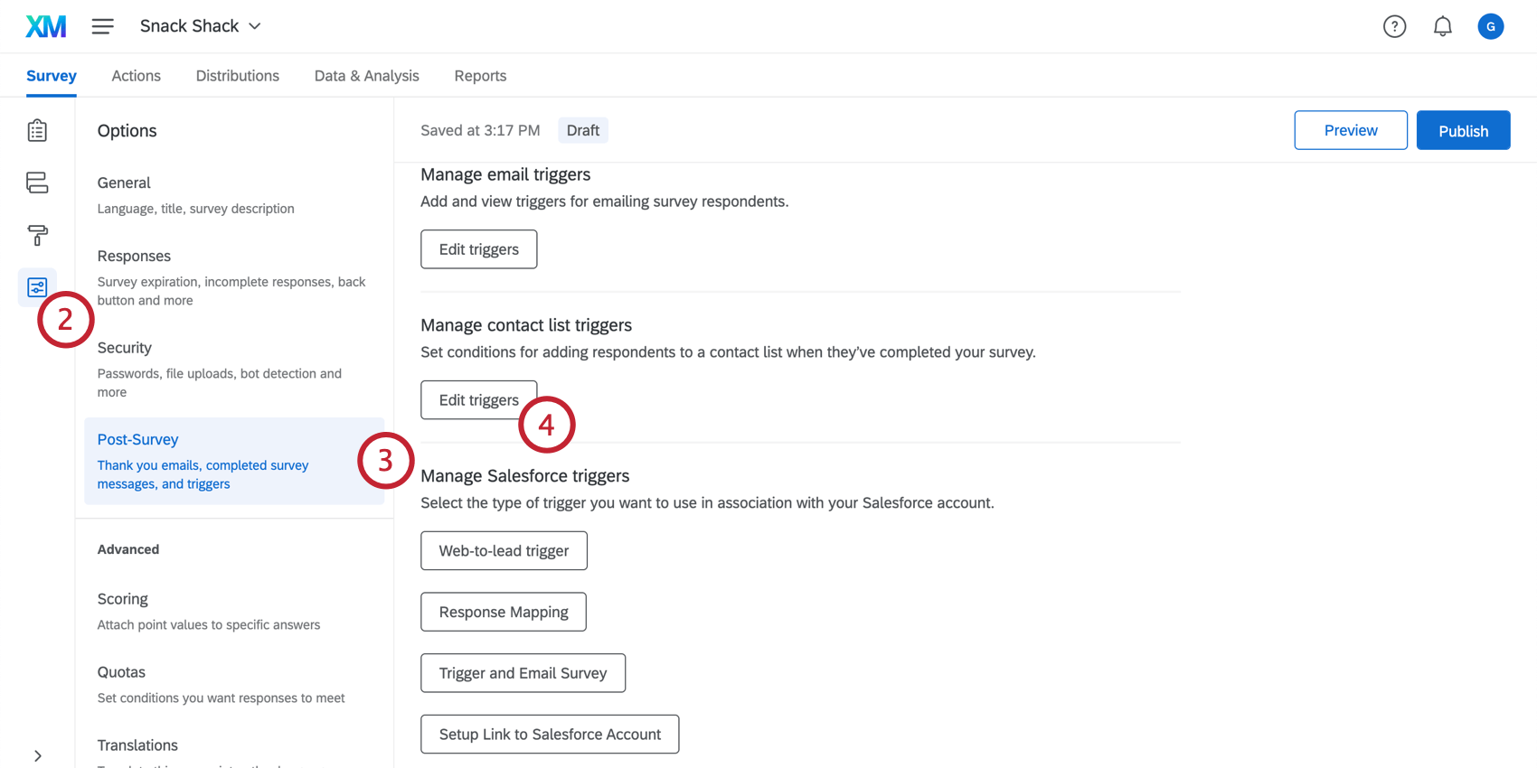 Under the survey options, navigating to the post-survey section and clicking Edit triggers