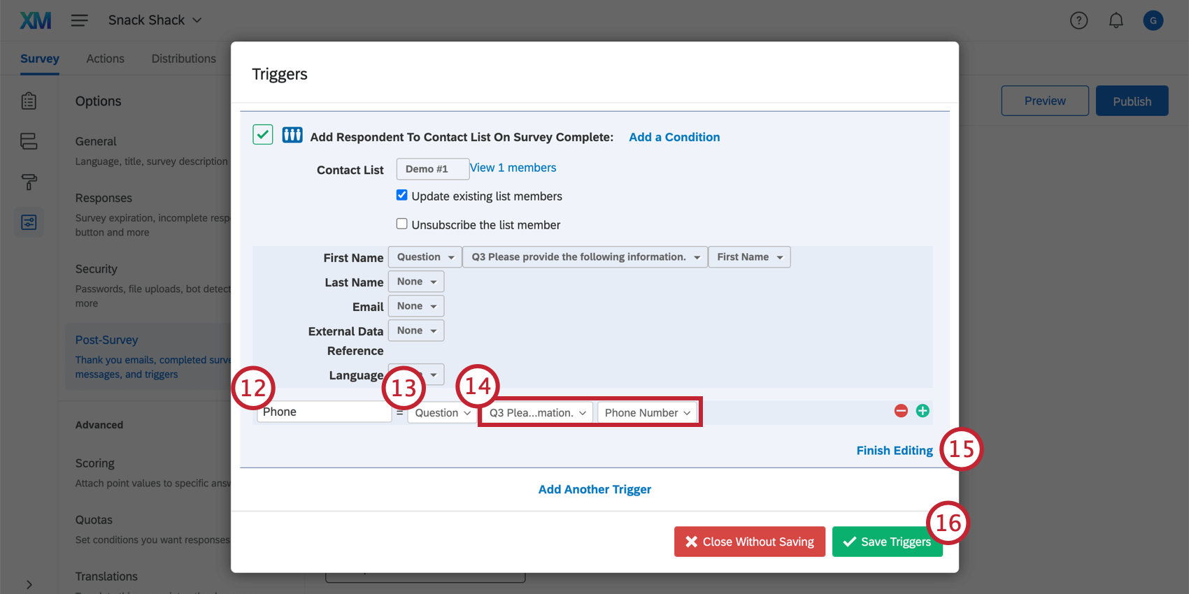 Naming embedded data as an additional field on the contact trigger