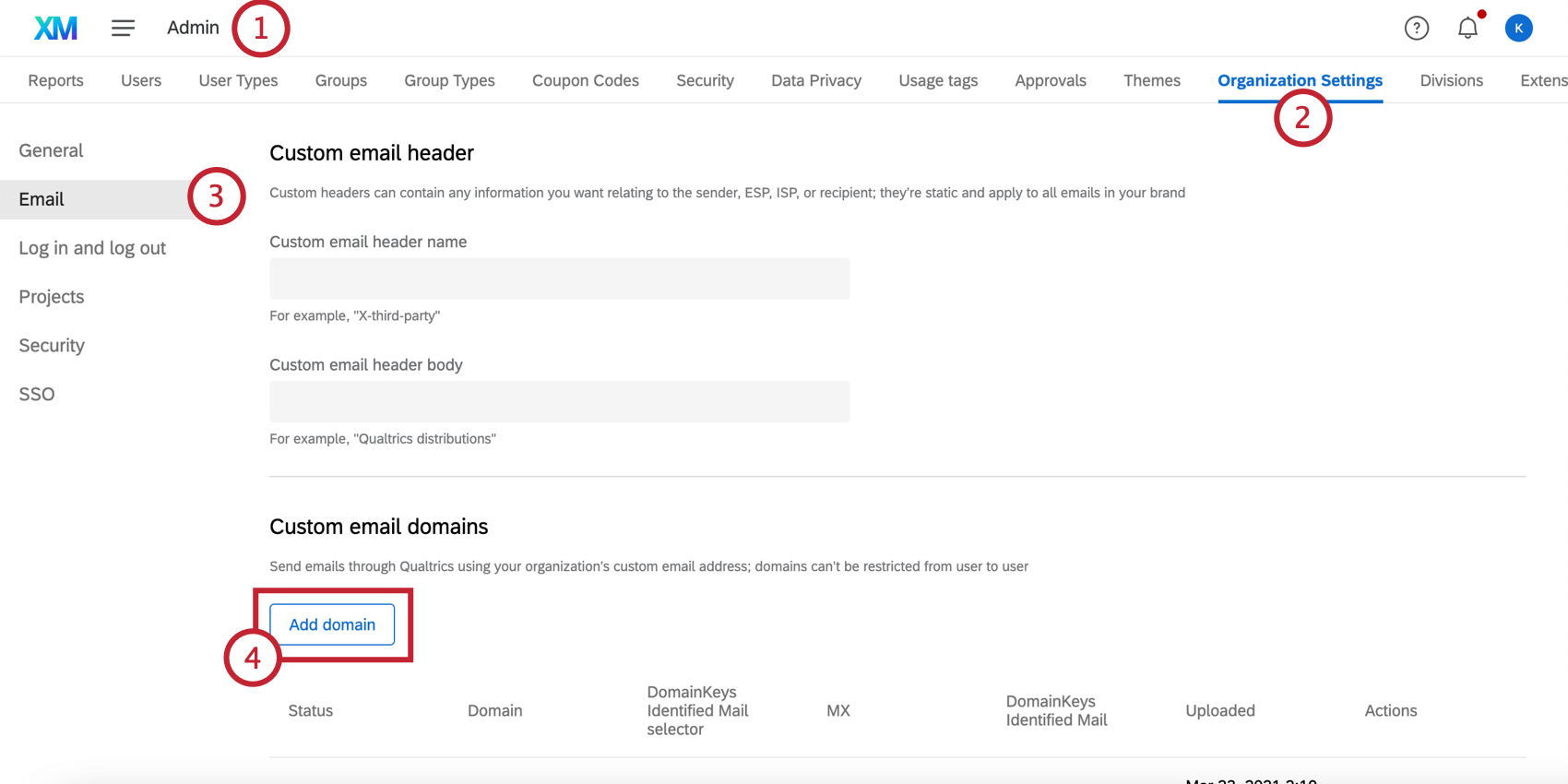 Adding a custom domain in the Email tab of the organization settings