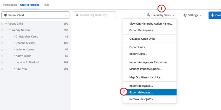 clicking hierarchy tools and then export delegates