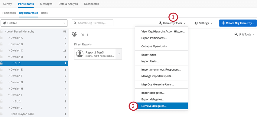 in the org hierarchies section, clicking hierarchy tools and then remove delegates