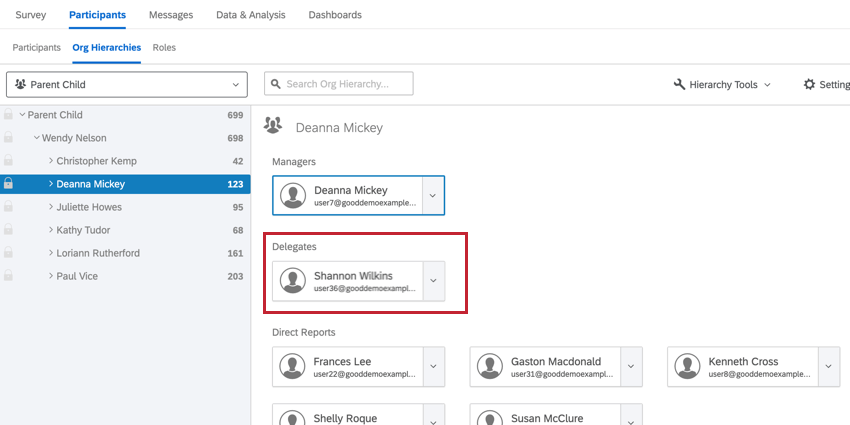 in the org hierarchy view, a delegate is visible