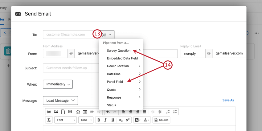 clicking the piped text menu for the to: field, and then choosing where the respondent's email was entered