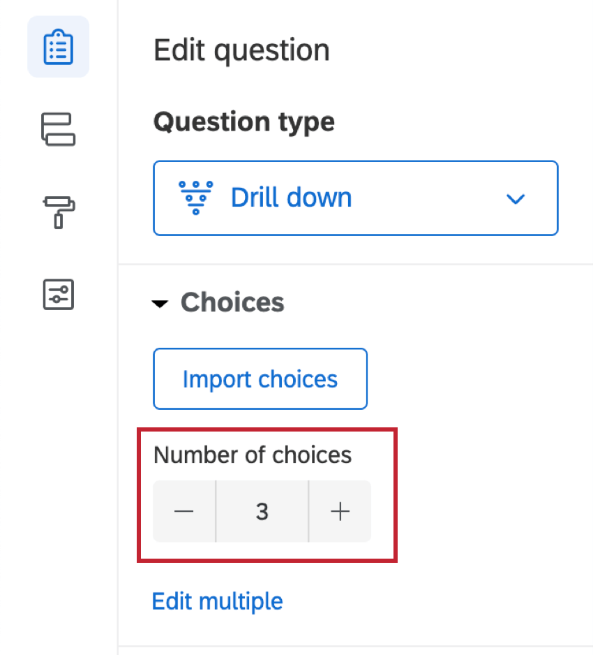 In the question editing pane, Choices are set to 3